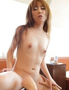Beautiful and brown haired Japanese Ai spreading her legs to take on our stunt cock