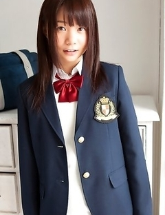 Mana doll in school uniform is naughty and happy after hour